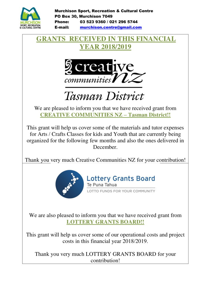 GRANTS RECEIVED 2018/2019
